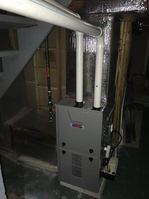 High-Efficiency furnace doesn't require a chimney for exhaust.