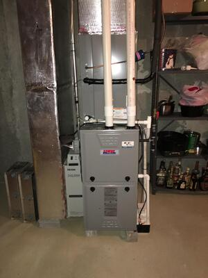 A two-stage gas furnace offers better heating than an oversized furnace that broke down in a Mechanicsburg PA townhome