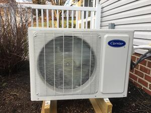 Outdoor condenser unit for a ductless mini-split cooling system